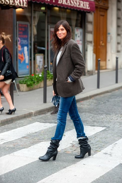 blazer, jeans, scrunched down YSL boots