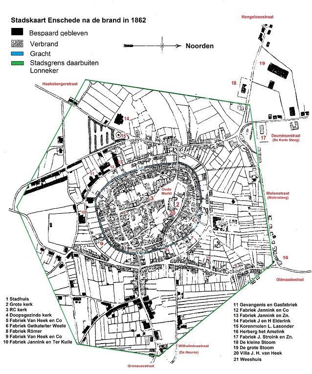 Stadskaart Enschede na de brand 1862