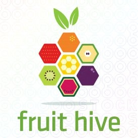 Fruit Hive logo  This design is strategic to it's presentation using the fruit to form a hive. Also, keeping rendering of the fruit simple and colorful makes the design easier to transfer to multiple items.