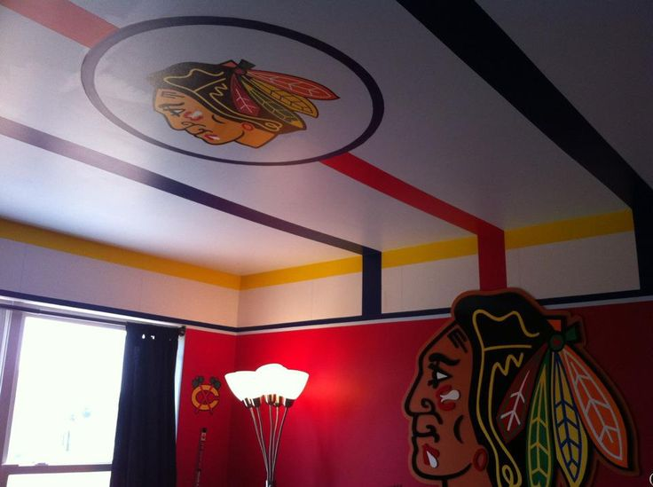 Blackhawks bedroom by my brother-in-law Jerry Mangano.