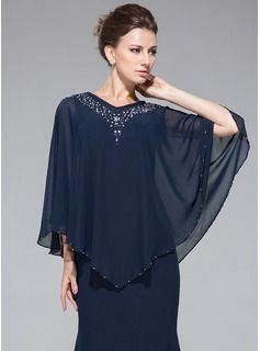Trumpet/Mermaid V-neck Tea-Length Beading Sequins Zipper Up at Side Sleeves 3/4 Sleeves No 2014 Dark Navy Spring Fall General Plus Chiffon Mother of the Bride Dress