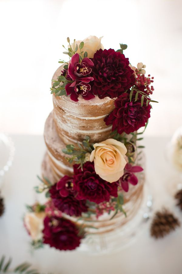 Naked Wedding Cake with Deep Red Flowers by Heavenly Delights Cupcakery / photo by Ashley Cook Photography