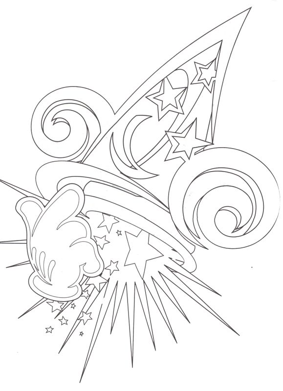 Disney Epcot Coloring Pages : Hollywood studios the sorcerer s hat coloring page