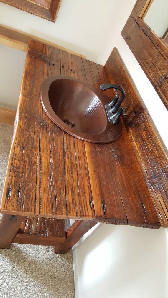 48 Rustic Reclaimed Barnwood Vanity Set Mirror And Sink Included Barnwood Vanity Reclaimed Barn Wood Vanity Set