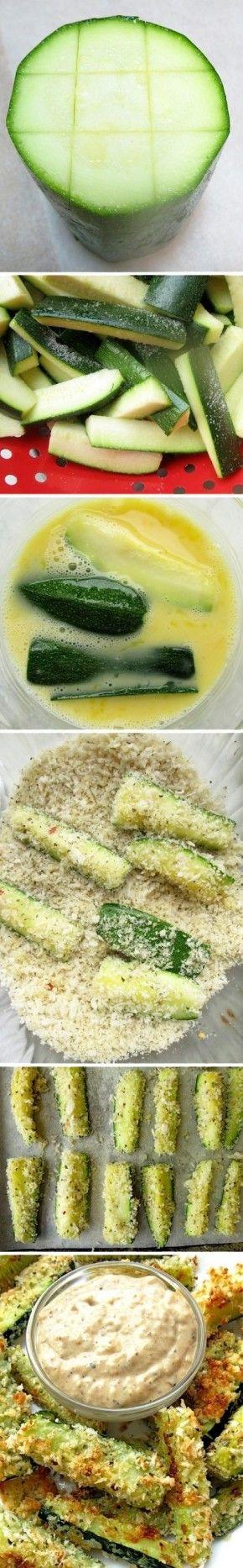 courgette sticks (gebakken in de oven) met een dipsausje