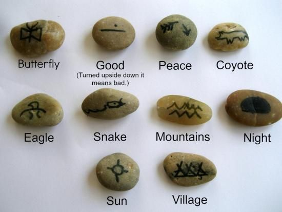 My son had a blast using these stones as a jumping off point to tell his own tales! Native Americans often used symbols to tell stories. Some symbols looked just like the concepts or objects they represented and others were more abstract. My son and I went to a Native American tribe's website to look up symbols so that we could make our own (super simple!) storytelling stones.
