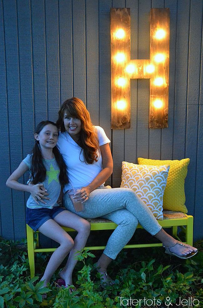 DIY Outdoor Marquee Light at Tatertots and Jello!! #DIY #summer