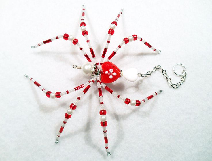 Amore  red and white glass beaded spider goth sun catcher