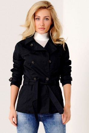 Annabel Short Trench Coat in Navy
