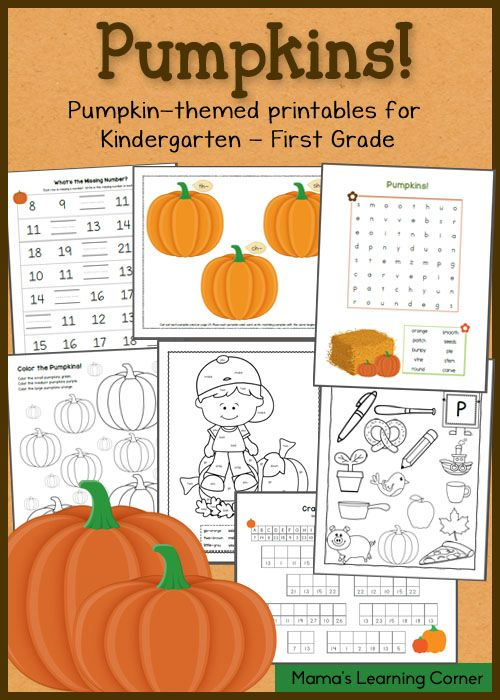 Download a 17-page packet of pumpkin worksheets for your Kindergartner-First Grader! Includes math facts, beginning sounds, build a sentence, and more!