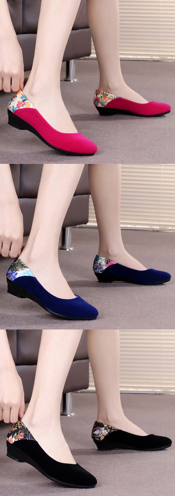 US$12.37  Floral Print Wedge Heel Suede Slip On Office Lady Casual Shoes