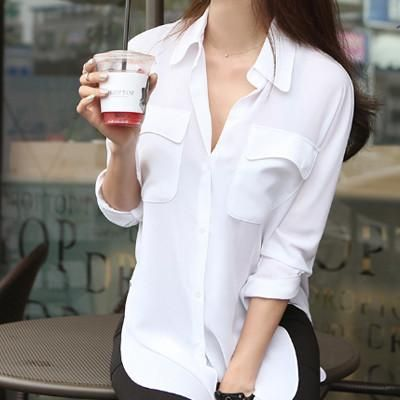 Sexy White Blouses Summer Style Ladies Office Shirts Girls Chiffon Blouse Women Purple Blusa Long Sleeve Woman Shirt Female
