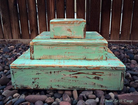 Mint Green 3 Tier Cupcake Stand Shabby Chic Rustic Wood Birthday Wedding Anniversary Party Food Desserts Display