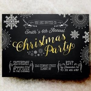 Christmas Party Invitation - Rustic Christmas invitation, blackboard Christmas invitation, snowflakes Christmas invitation
