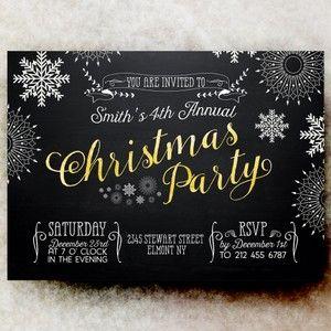 Christmas Party Invitation - Rustic Christmas invitation, blackboard Christmas invitation, snowflakes Christmas invitation