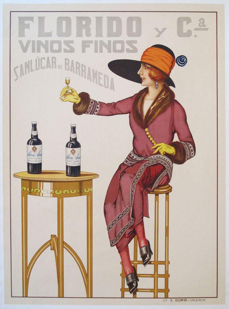 ORIGINAL VINTAGE 1920s SPANISH WINE POSTER FLORIDO ...