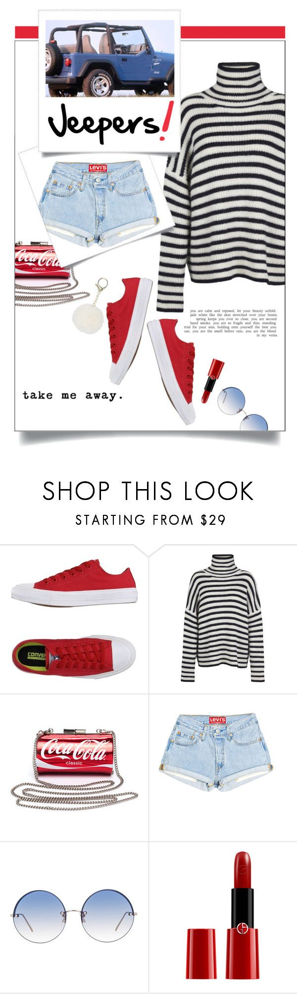 """Weekends."" by s-elle ❤ liked on Polyvore featuring Converse, Samsøe & Samsøe, Wrangler, Linda Farrow, Giorgio Armani, weekend, sneakers, roadtrip and denimshorts"