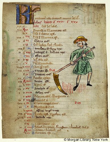 Church Calendar leaves, MS M.908.3 fol. 1v - Images from Medieval and Renaissance Manuscripts - The Morgan Library & Museum