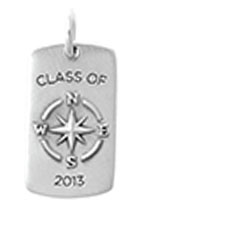 """CLASS OF 2013 TAG / ACCENT  Congrats class of 2013, you did it! This Tag depicts a compass with """"Class of 2013"""" emblazoned on the front. The back offers a reminder to, """"Go confidently in the direction of your dreams."""" Wear this Class of 2013 Tag to show off your significant milestone."""