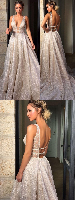 Sexy V-neck Sequin A-line Prom Wedding Dresses, Gorgeous Sparkle Prom Dresses, PD0361 #promdresses