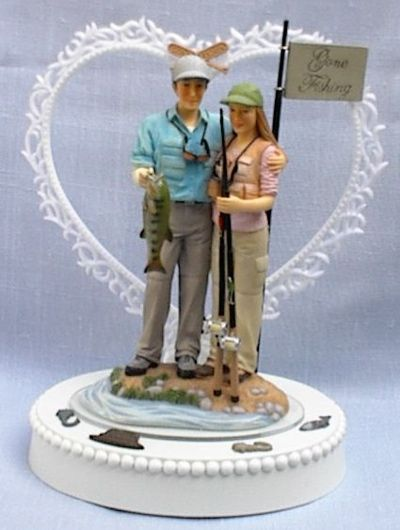 Wedding cake topper fishing bride groom couple themed for Fishing cake toppers