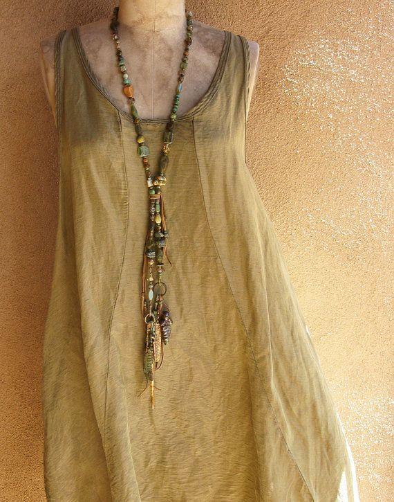 Desert Green Earth Goddess Spirit Beads Convertible Lariat Necklace
