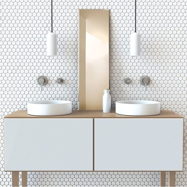 Minimal | brass | white | pattern | hexagonal | mosaic | contemporary | vanity…