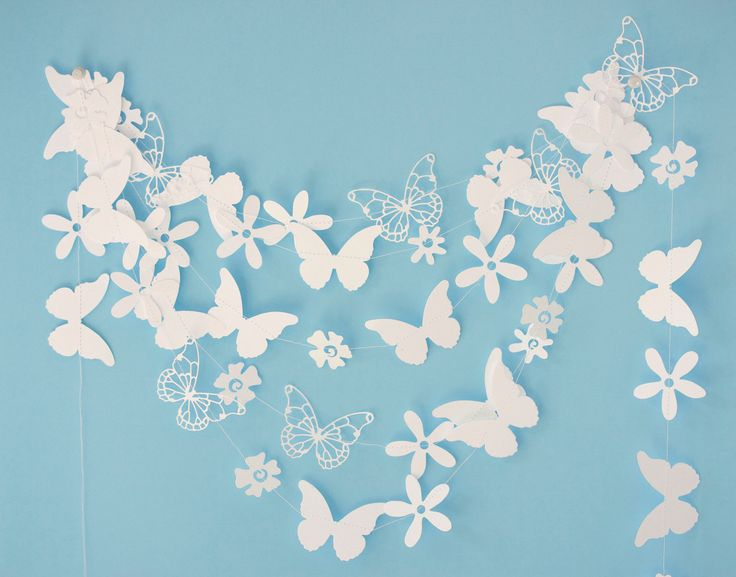 white paper garland with flowers and butterflies by ksenchik30, $13.95