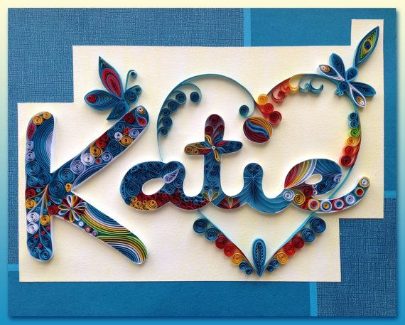 Quilling Custom Name Wall Hanging Katie Halcyon