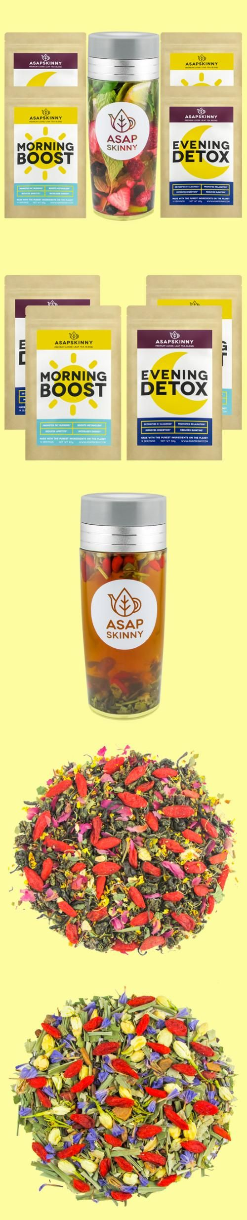 #1 BEST DETOX TEA EVER! Save money with this package deal! You will receive our 28-Day Teatox along with ASAPSKINNY Tea Bottle. Now you can drink our tea anywhere, anytime. Get fit on the go! Our Teatox is Laxative-Free, Vegan-Friendly and All-Natural. It will help you by Increasing metabolism, Reducing stomach bloat, Suppressing appetite and Improving skin complexion. Low on stock - get it TODAY! www.asapskinny.com