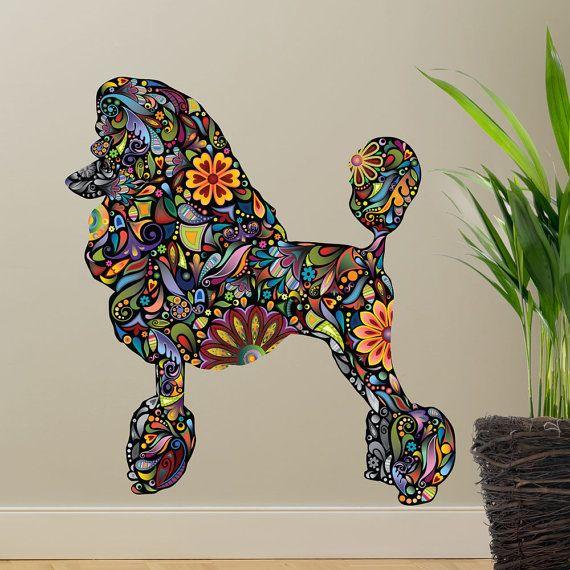 Standaard poedel hond Decal muur Sticker van MyWallStickers op Etsy