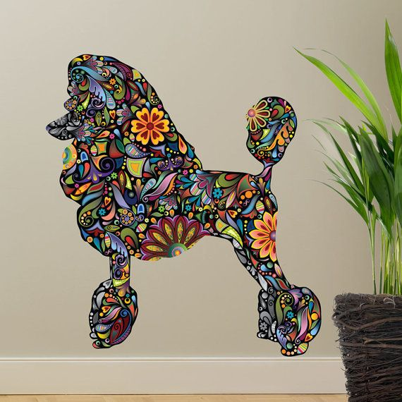 Standard Poodle Dog Decal Wall Sticker by MyWallStickers on Etsy