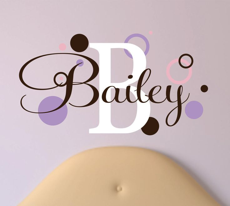 Childrens  Name Wall Decal  with Rings and Dots - Childrens Wall Decals - Baby Girl or Boy Nursery Wall Art. $22.00, via Etsy.