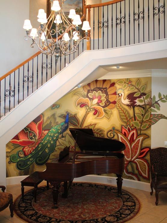 Beautiful peacock mural painted by Ali Kay.  Wow I should do this to my wall.  This looks like my curved wall below bannister.