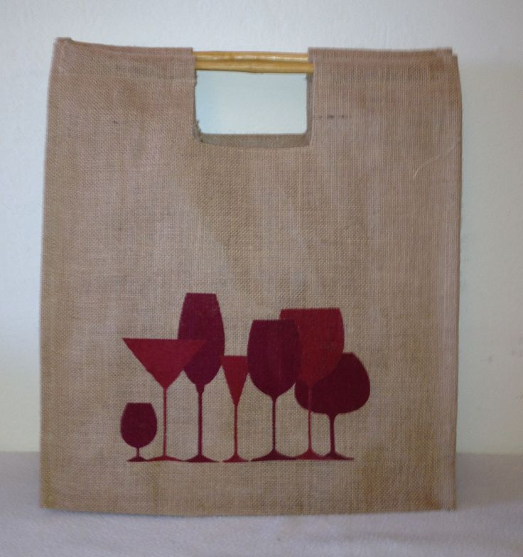 "Welcome our Jute Shopping bag with easy to use bamboo handles. Perfect for a trip to the park or the farmers market for some shopping. The dimensions are 16"" l x 16"" h x 1"" w . It is hand silk screene"