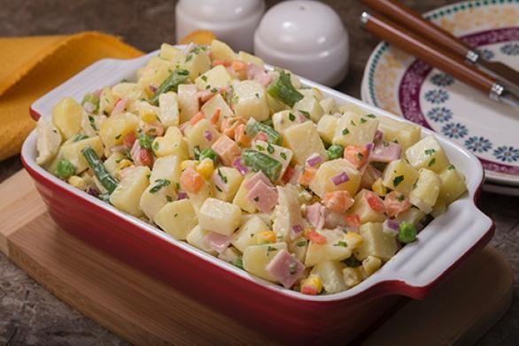 Detalles para la preparación de la receta de Ensalada de papa con mayonesa con imágenes y calificación de usuarios en PRONACA Procesadora Nacional de Alimentos