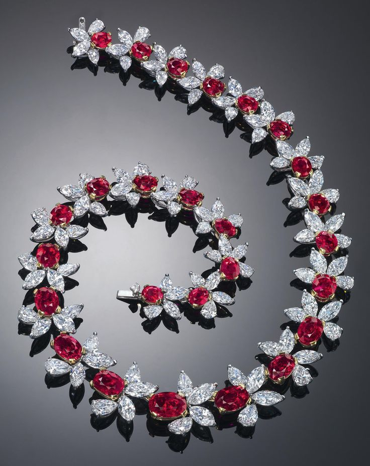 "A Burmese no heat ""pigeon's blood"" ruby and diamond necklace  by James W. Currens.  The necklace has an auction estimate of $3.5 to $5.5 million"