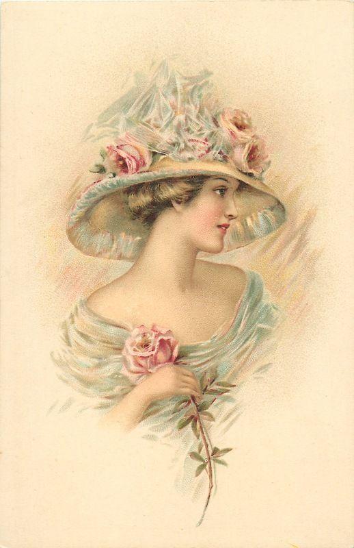 Винтажные открытки женщин, конструктор открытки