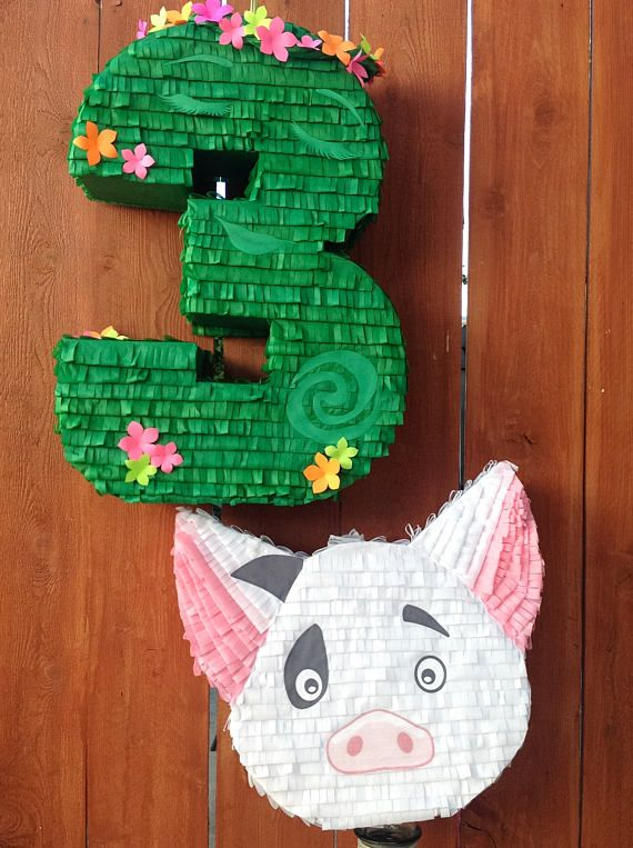 This 18 Pua Pig Piñata is the perfect detail for your Moana Themed Party!   *Piñata measures 18 high  *Holds approximately 4-5 pounds of candy  *Sturdy enough for multiple guest to participate  *Easy to fill opening on top    ---------------CUSTOMIZATION---------------  My piñatas are handmade and I am more than happy to work with you on a custom size that fits your needs. **Please note all piñatas are handmade and therefore may differ slightly from one another**