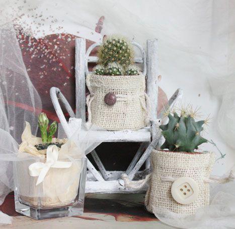 wedding favors. bomboniere di matrimonio - piante grasse in sacchetto di juta decorate a mano con nastri, bottoni