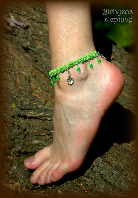 #light #green #macrame #anklet #with #tibetiansilver #charms <3