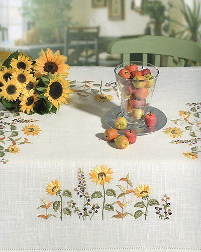 Sunflowers 85 x 85cm Embroidery Tablecloth Kit | sewandso