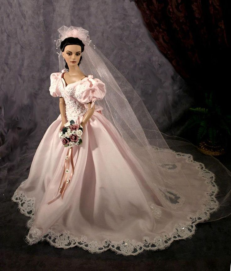 Bride doll pink wedding dress dream doll collection for Wedding dresses for barbie dolls