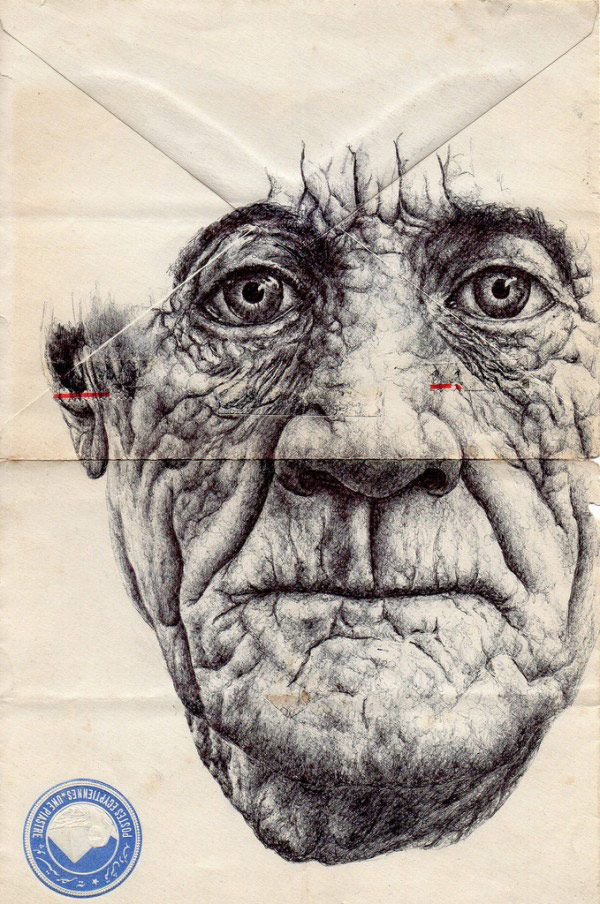 Mark Powell draws incredibly detailed, sumptuous portraits on the backs of vintage envelopes with nothing but a regular old Bic Biro pen. These portraits, often of the elderly subjects, are drawn on the backs of vintage envelopes, and Powell subtly incorporates remnant text, stamps, or just the lines of folding into his work. The result is an extremely compelling series that makes us reconsider the lost art of letter writing — and makes us want to call our grandparents