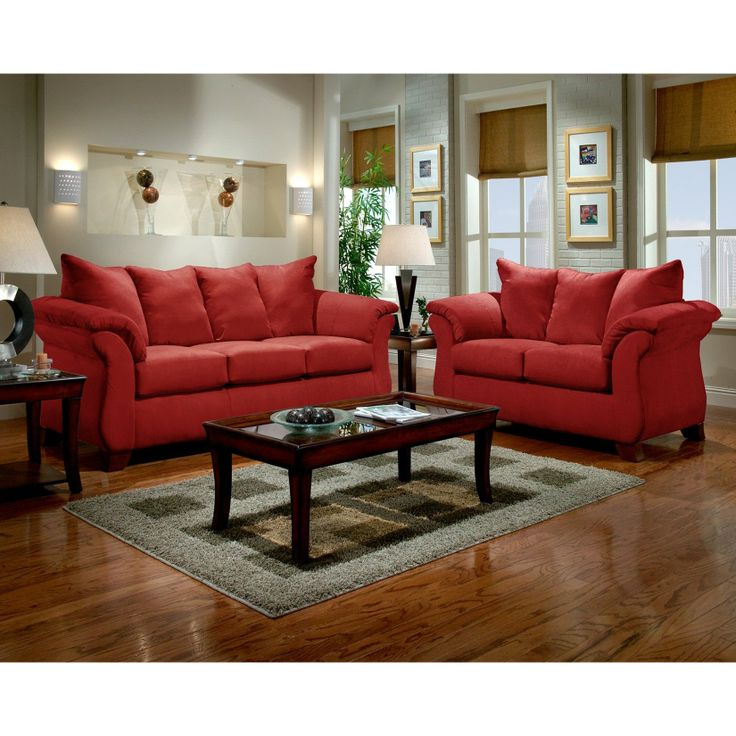 roundhill furniture sensations microfiber pillow back sofa and loveseat set red