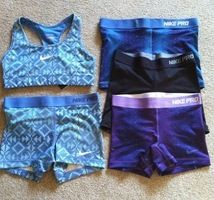 Outfit of Nike pro sports bra and Nike pro shorts