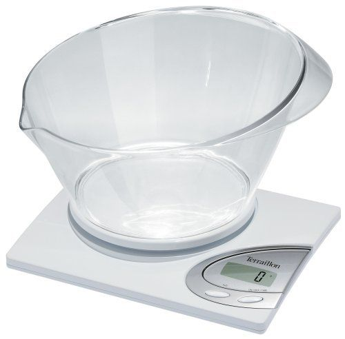 Terraillon Linear Vocal 6.6-Pound Digital Kitchen Scale with Bowl, White by Terraillon. $31.50. Capacity: 6.6 pound. LCD 42 x 17 mm. 9V and long-life lithium batteries included. Dry/liquid measuring system and tare function. Measures in ounces and pounds. The Linear Vocal 6.6-Pound electronic kitchen scale has a rectangular slim design with vocal mode.  Not only will it display the measurement but it will also read the measurement out loud.  The handy 2 quart bowl has a pouring l...