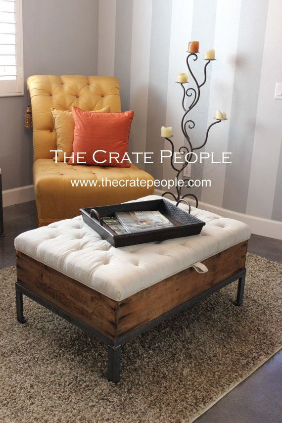 FREE SHIPPING - Vintage European Grain Sack – Button Tufted Ottoman CRATE Coffee  Table with Storage - 25+ Best Ideas About Tufted Ottoman Coffee Table On Pinterest