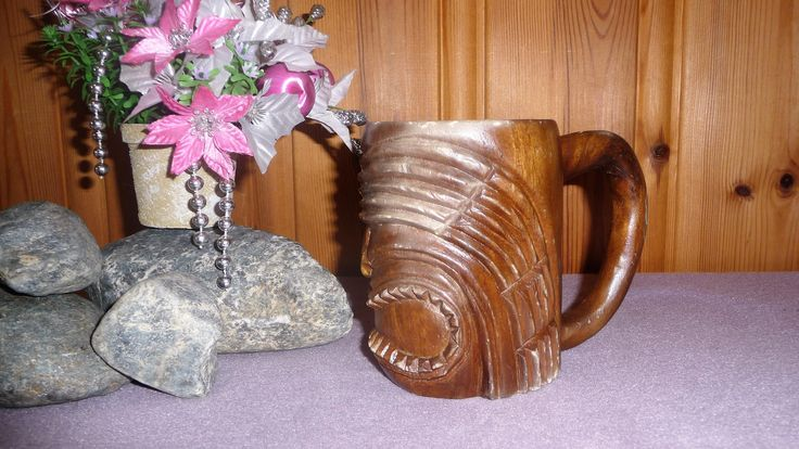Vintage Carved Wood African or Asian Tiki Face Mug, Wooden Stein, Drinking Cup by Grandchildattic on Etsy