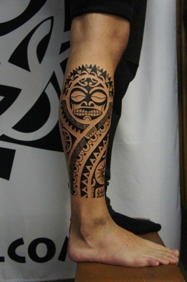 Black Polynesian Sun Tattoo on Right Leg